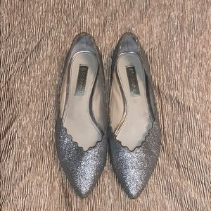 Betsey Johnson silver slippers